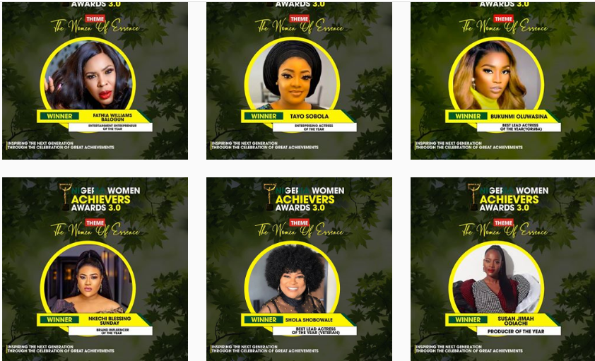 Nollywood actors, Faithia Williams, Sola Sobowale emerge winners at the Nigerian achievers awards
