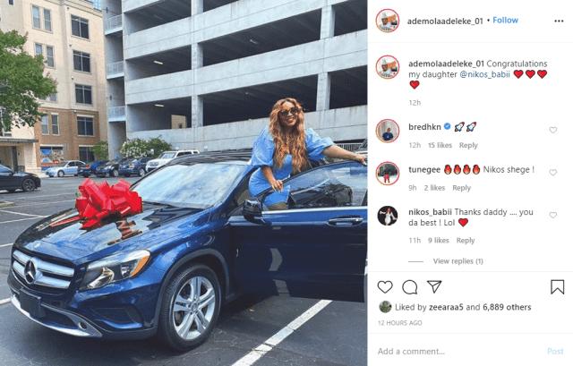 Davido's uncle, Senator Adeleke buys daughter a Benz as graduation gift