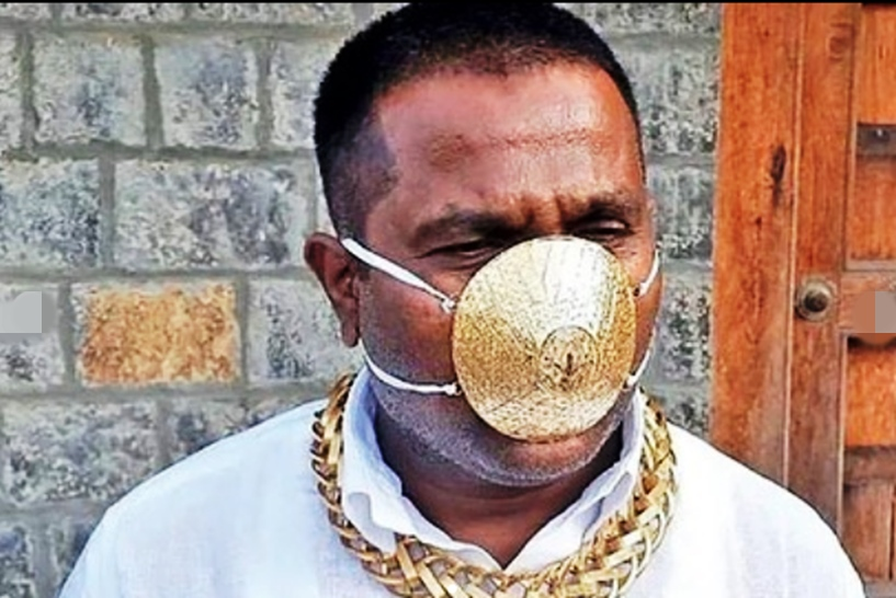 Indian man wears '$4,000' (N1.5m) gold face mask to ward off coronavirus