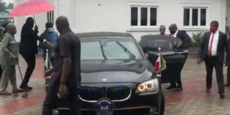 BREAKING: Rivers state governor, Wike storms ex-NDDC MD's house, takes her to Gov't house