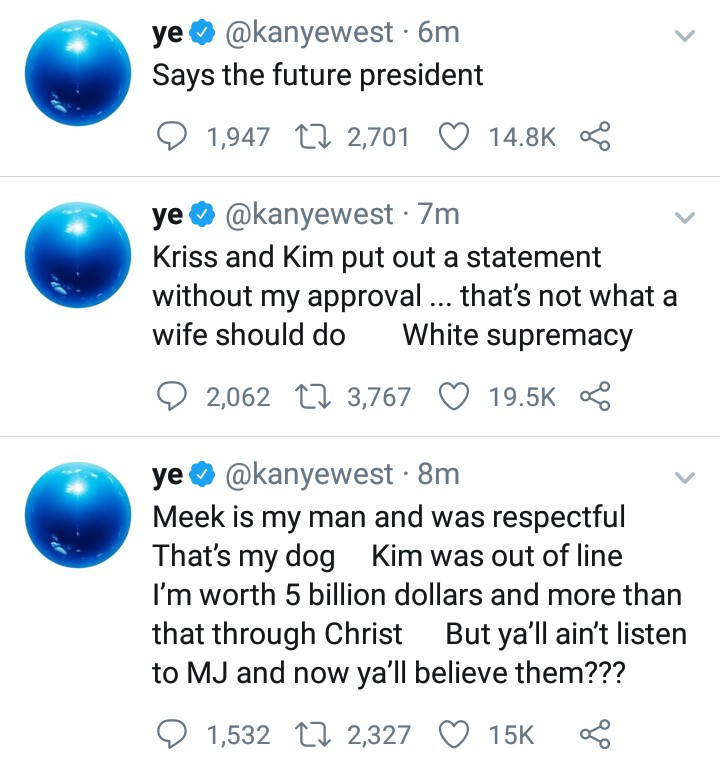 """I've been trying to get divorced since"" Kanye West continues to call out Kim Kardashian and mum Kris Jenner"
