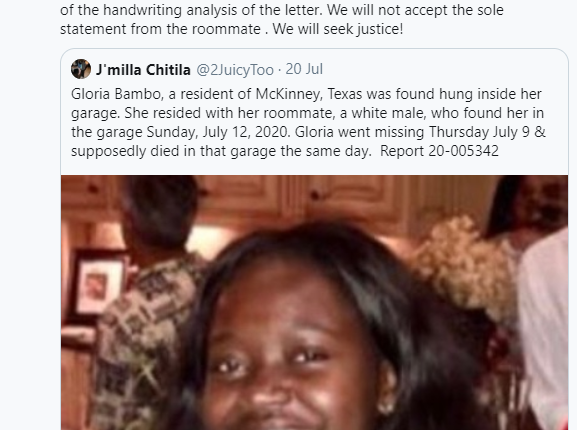 Black woman found dead in her white roommate's garage