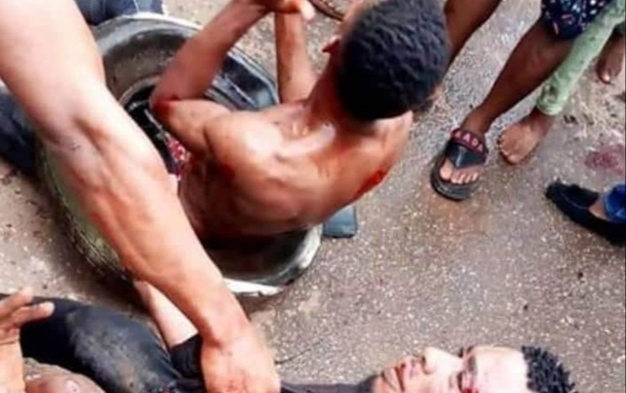 PHOTOS: Mob burn two persons to death over robbery allegation in Imo state