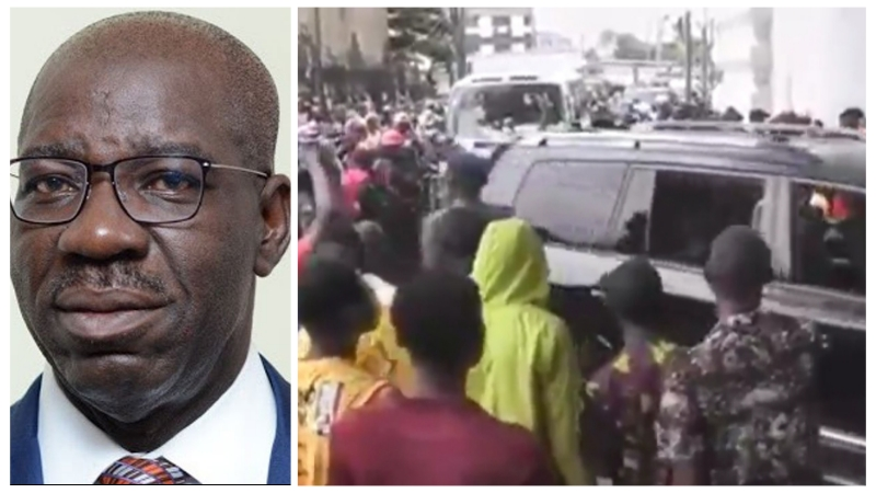 VIDEO: Edo State Governor, Obaseki 'booed' by angry residents at the Palace of Oba Benin