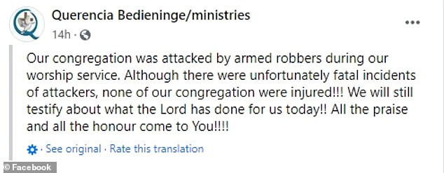 Two gunmen are shot dead by a congregant in church as they tried to rob the congregation during Sunday service in South Africa