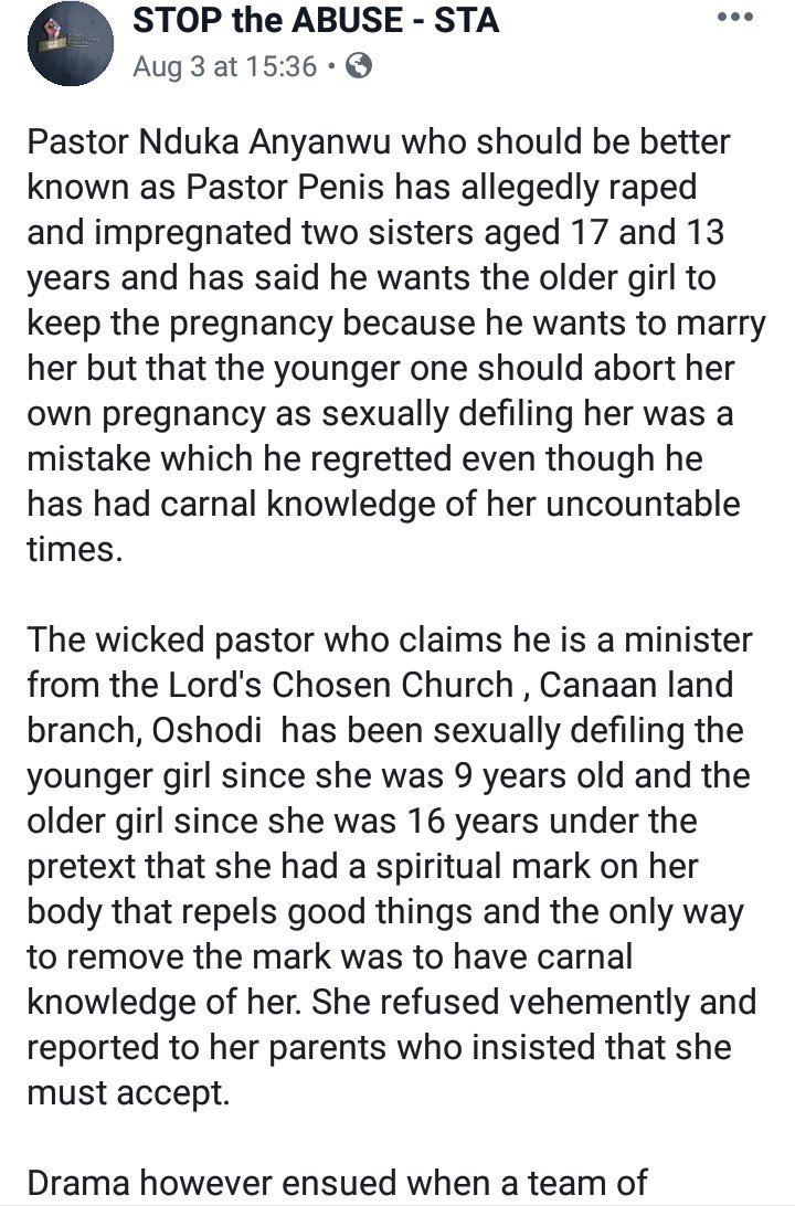 Lord's Chosen pastor allegedly impregnates underage sisters under the guise of casting out badluck from them.