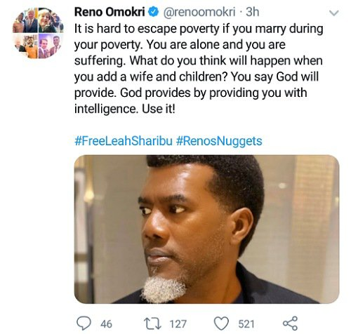"""""""It is hard to escape poverty if you marry during your poverty"""" – Reno Omokri"""