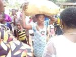 Photos: Lady paraded after being caught stealing cassava in a farm in Abia state