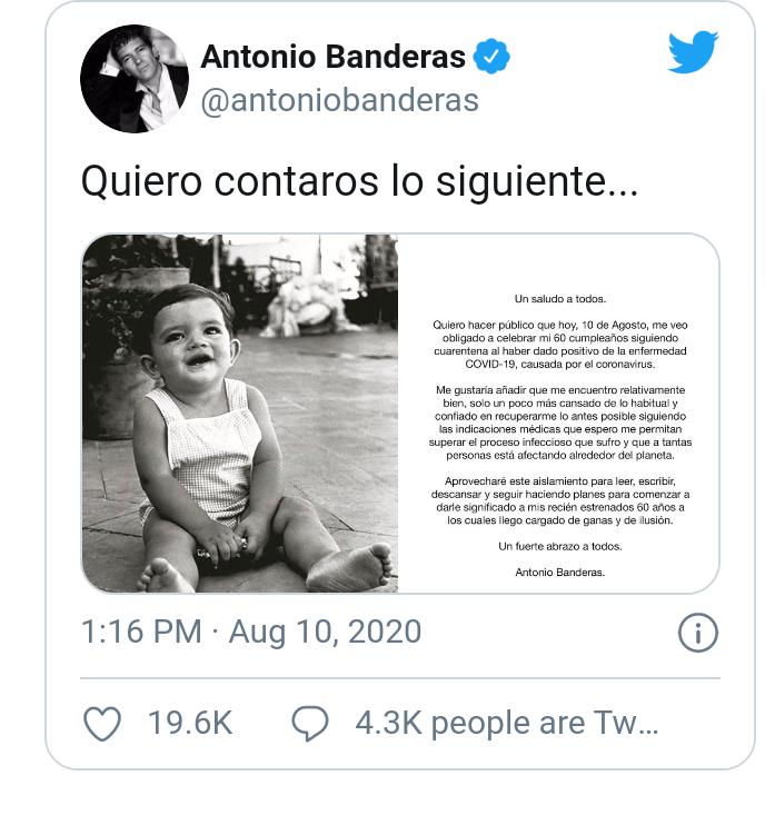 Actor Antonio Banderas tests positive for Coronavirus