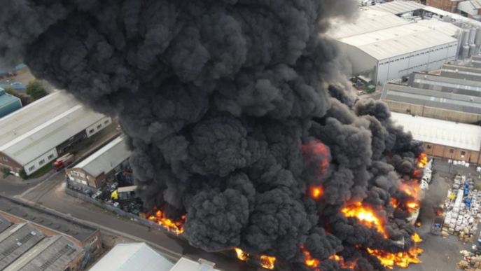 VIDEO: Massive fire breaks out in Birmingham, over 100 firefighters struggle to put it out
