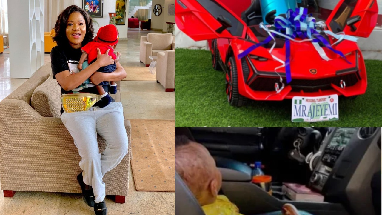 Photos: Toyin Abraham buys her son, Ire a customized car for his first birthday