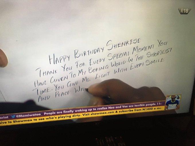 BBNaija: Neo pens down emotional tribute to his lover, Vee on her birthday