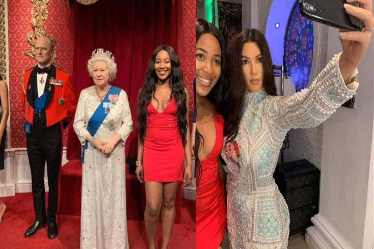 Photo of BBNaija housemate, Erica posing with Queen of England and Kim Kardashian