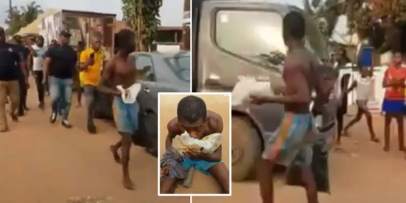 Viral Video: The moment a suspected Ritualist was forced to eat stolen faeces in Delta
