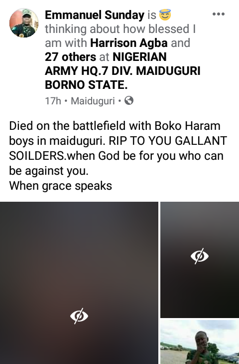 Soldier shares photos of his colleagues killed in battle with Boko Haram in Maiduguri