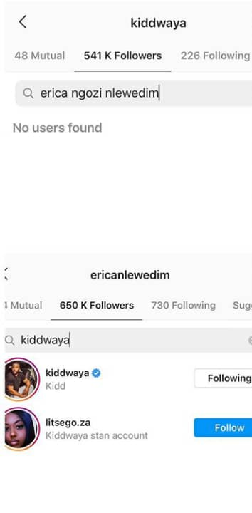 Disqualified BBNaija housemate, Erica unfollows her 'lover' Kiddwaya after getting a hold of her photo