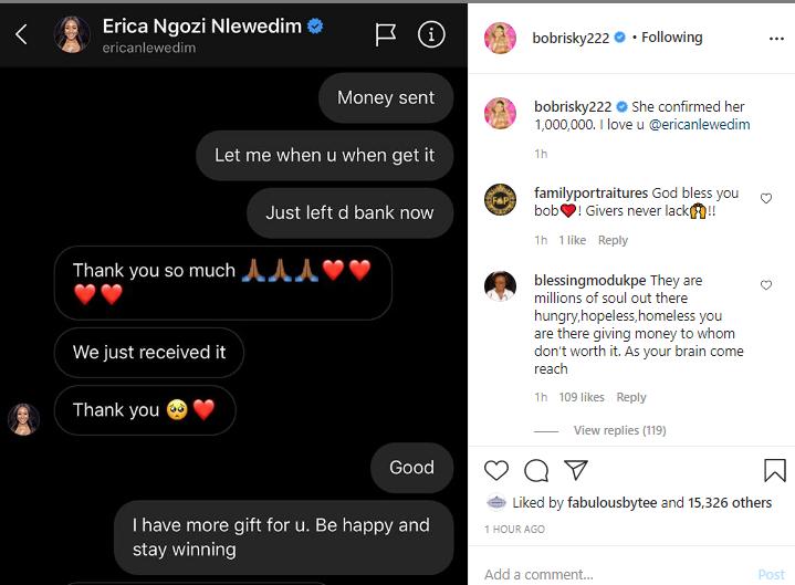 Bobrisky gifts BBNaija disqualified housemate, Erica N1 million