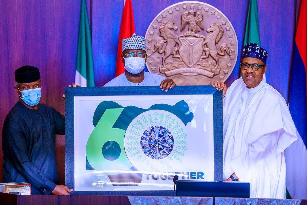Buhari unveils nigeria @60 logo On