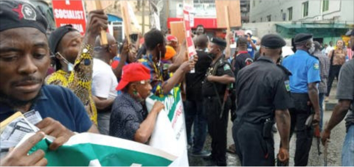 PHOTOS: Protest rocks Lagos community over hike fuel and electricity