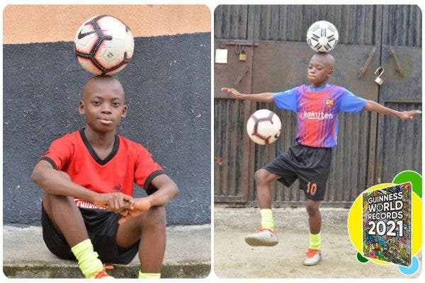 12-year-old Nigerian smashes football free-styling record