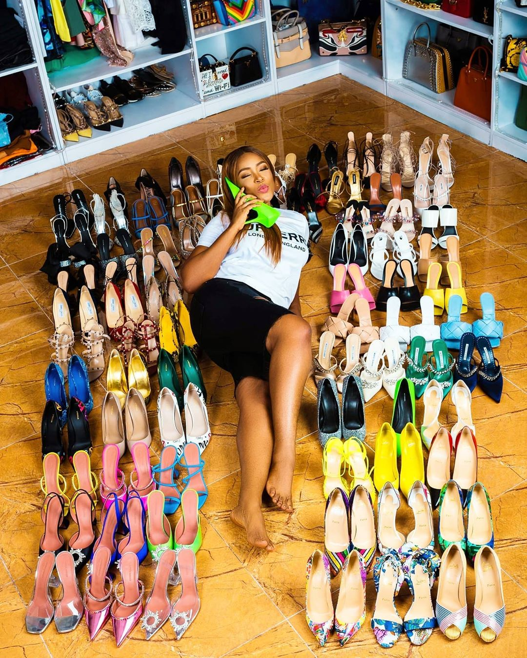 Billionaire blogger, Linda Ikeji gifts self 85 pairs of designer shoes to celebrate 40th birthday (Photos)