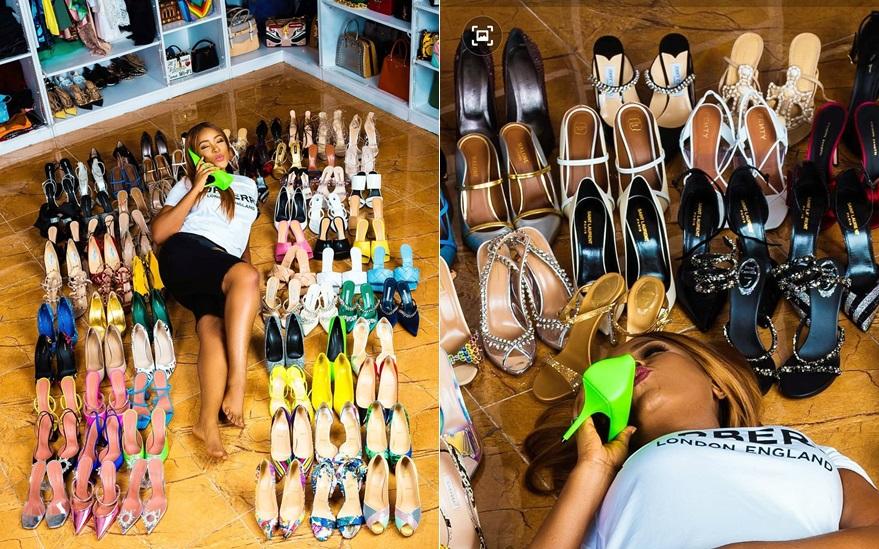 Billionaire blogger, Linda Ikeji gifts self 85 pairs of designer shoes to celebrate 40th birthday (Photos)