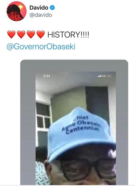 Davido celebrates over Obaseki's victory in Edo Election