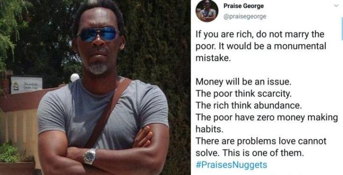 Nigerian Author, Praise George warns rich people against marrying the poor, gives reasons