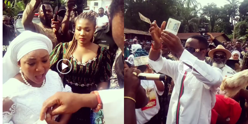 Money rains heavily as Zubby Michael storms Racheal Okonkwo's mother's burial