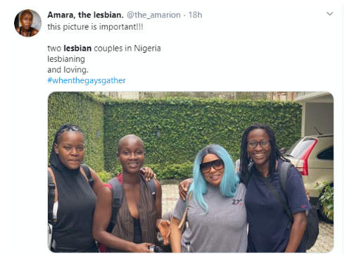 Nigerians panic as lesbian couples pose for photo in Lagos