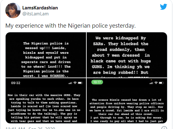 Bizzle Osikoya: Lady narrates her heartbreaking ordeal in the hands of Nigerian Police officers