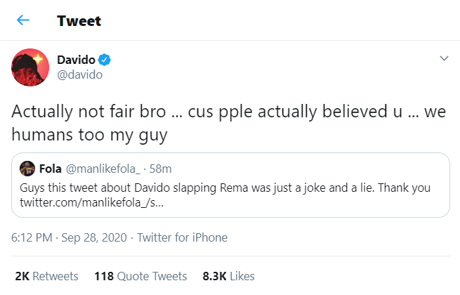 Davido reacts to rumor that he slapped Rema during #BBNaija finale
