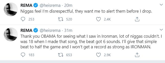 """""""I made millions before this fame, let no man feel money is changing me"""" – Rema rants on Twitter"""