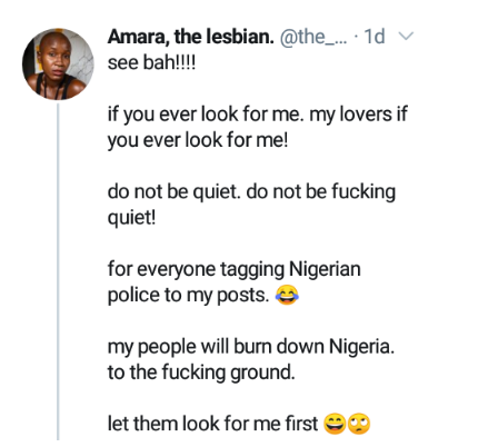 Openly gay Nigerian woman, Amara threatens fire and brimstone on Nigeria if anything happens to her