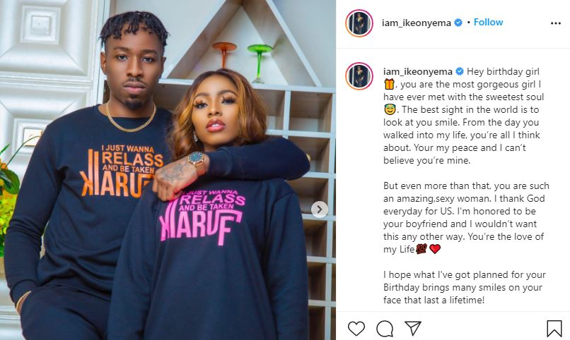 BBNaija Ike pens down heartfelt message to his lover, Mercy Eke as she turns 27