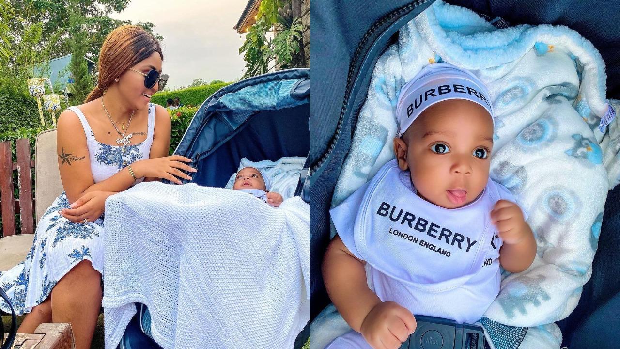 Photos: Billionaire's wife, Regina Daniels celebrates her son at 3 months