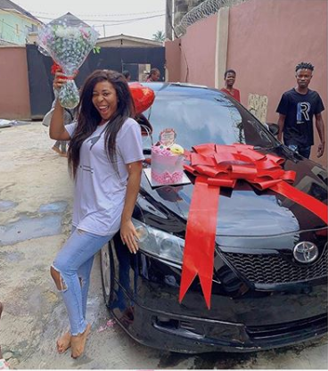 Jubilation as Nkechi Blessing 'blesses' her sister with a brand new car