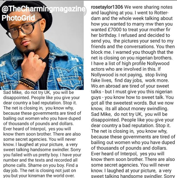 Lady calls out actor Mike Ezuruonye for allegedly trying to scam her of 7000 Euros