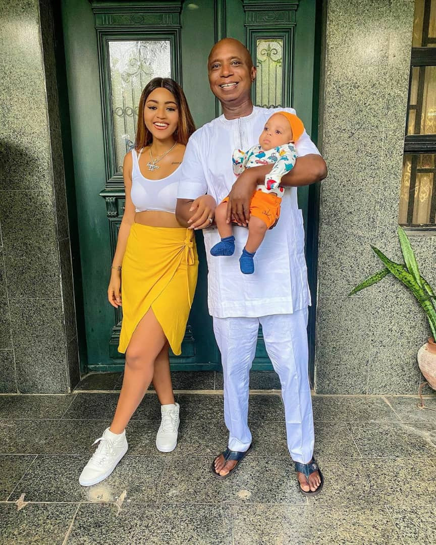 Actress Regina Daniels poses with hubby, Ned and son in stunning photos