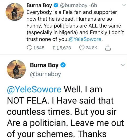 Burna Boy drags life out of Omoyele Sowore for inviting him to #RevolutionNow protest