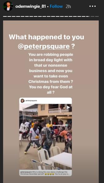 Osaze Odemwingie, a retired professional Nigerian footballer, has accused Nigerian singer and songwriter, Peter Okoye of robbing people.