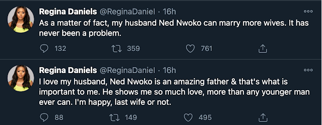 Regina Daniels Backs Hubby, Ned Nwoko, Says He Can Marry More Wives