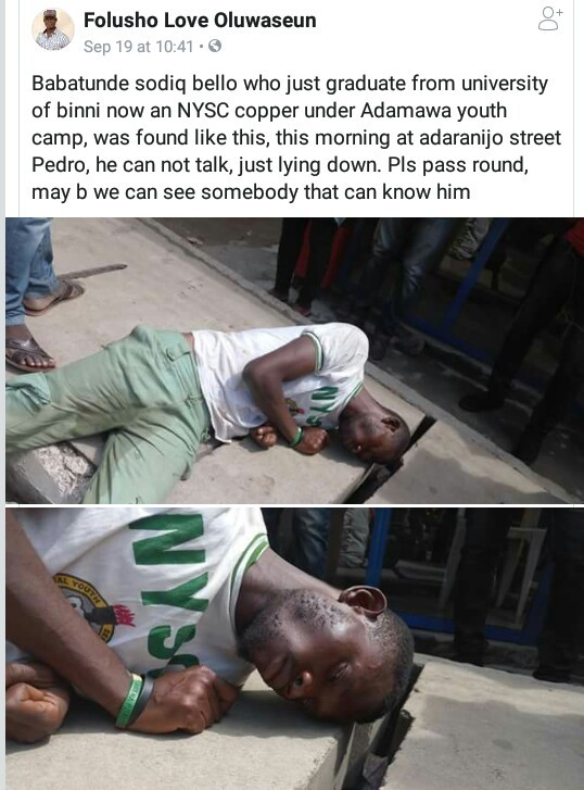 Photos: Corps member found unconscious on roadside in Lagos