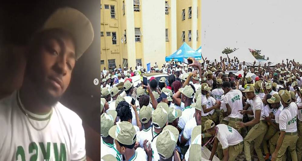 Commotion in Lagos NYSC camp as Davido resumes for service (Photos+Video)